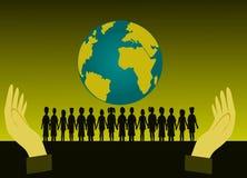 Zwart silhouet van groepskinderen die zich voor de wereld bevinden Ik heb twee handen stock illustratie