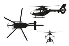 Zwart silhouet van helikopter op witte achtergrond Hoogste, zij, vooraanzicht Geïsoleerde tekening royalty-vrije illustratie