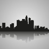 Zwart silhouet van Los Angeles met bezinning Vector illustratie vector illustratie