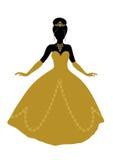 Zwart silhouet van prinses in gouden kleding Stock Fotografie