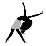 Zwart silhouet van vrouw het dansen Royalty-vrije Stock Fotografie