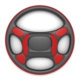 Zwart stuurwiel met rode voeringen met achtergrond Stock Foto