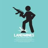 Zwart Symbool van een Militair Step On Landmines Royalty-vrije Stock Foto