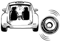 Zwart taxiteken met auto op witte achtergrond Stock Afbeeldingen