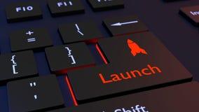 Zwart toetsenbord rood het gloeien lanceringsconcept Royalty-vrije Stock Afbeelding