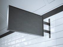 Zwart uithangbord op een muur het 3d teruggeven Stock Fotografie