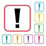 Zwart uitroepteken in rood kader De kleurrijke pictogrammen van reeks extra versies Vector vector illustratie