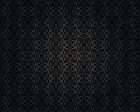 Zwart uitstekend behang herhaald ontwerp als achtergrond stock illustratie