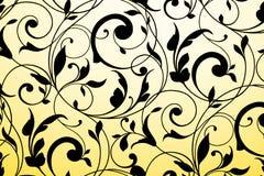Zwart uitstekend ornament op witte en gele gradiënt Stock Foto's