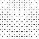 Zwart van bloembloemblaadjes en punten patroon op witte achtergrond Stock Afbeelding
