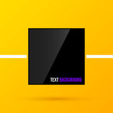 Zwart vierkant tekstkader op heldere gele achtergrond in moderne collectieve stijl EPS10 Stock Fotografie