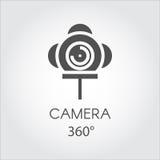 Zwart vlak lijnpictogram van camera 360 graad Concept virtuele panoramamening Stock Foto