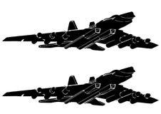 Zwart vliegtuig op een witte achtergrond stock illustratie