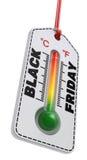 Zwart vrijdagconcept met thermometerprijskaartje Royalty-vrije Stock Fotografie