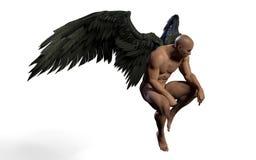 Zwart Wing Plumage Isolated met het Knippen van Weg stock illustratie