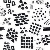 Zwart-wit abstract hand getrokken verschillend de slagen en de texturen naadloos patroon van de vormenborstel vector illustratie