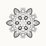 Zwart-wit abstract patroon met bladeren en bloemen Stock Foto's