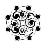 Zwart-wit Abstract Psychedelisch Art Background Vectorillu Stock Foto's