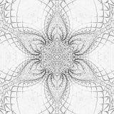 Zwart-wit abstracte arabesquebloem van tegelmandala royalty-vrije illustratie
