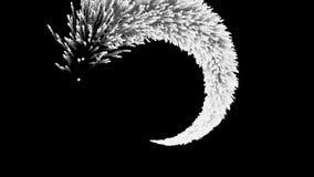 Zwart-wit abstracte fonkelingensleep op zwarte achtergrond Zwart-witte abstruction van een komeetstaart die achteruit zich binnen royalty-vrije illustratie