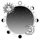 Zwart-wit achtergrond: de hemel, de Maan en de Zon van de nachtster plaats stock illustratie