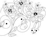 Zwart-wit achtergrond met bloemen Royalty-vrije Stock Afbeeldingen