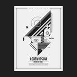 Zwart-wit affichemalplaatje met abstract schepsel Royalty-vrije Stock Foto's
