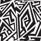 Zwart-wit Afrikaans geometrisch naadloos patroon royalty-vrije illustratie