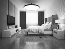 Zwart-wit art decoslaapkamer Stock Afbeelding