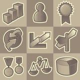 Zwart-wit bedrijfspictogrammen Stock Afbeeldingen