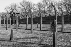 Zwart-wit beeld van Auschwitz het Duitse Kamp van Nazi Concentration en van de Uitroeiing in Polen stock foto