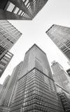Zwart-wit beeld van de wolkenkrabbers van Manhattan, NYC royalty-vrije stock afbeeldingen