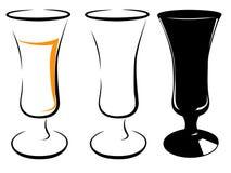 Zwart-wit beeld van een lang wijnglas Stock Foto