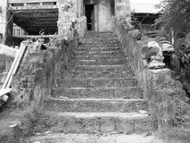 Zwart-wit beeld van een oud stadsdeel Stock Foto's