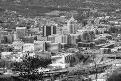 Zwart-wit Beeld van het Hart van Roanoke-het Bedrijfsdistrict Van de binnenstad stock afbeelding