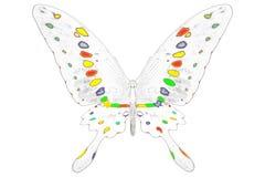 Zwart-wit beeld van mooie vlinder met kleurrijke vleugels Stock Foto's
