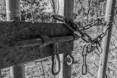 Zwart-wit beeld van oud slot met een ketting op een metaalpoort stock foto