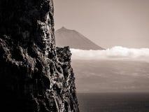 Zwart-wit beeld van platteland in de voorgrond en de berg van Pico op de achtergrond stock foto's