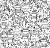 Zwart-wit behang met voedsel en dranken Stock Foto's