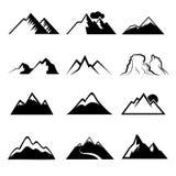 Zwart-wit berg vectorpictogrammen Stock Fotografie