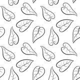 Zwart-wit bladeren naadloos patroon Vector illustratie Stock Fotografie