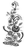 Zwart-wit bloemen en bladerenontwerpelement Royalty-vrije Stock Afbeelding