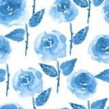 Zwart-wit bloemen naadloos ontwerp met blauwe waterverfrozen op witte achtergrond Stock Fotografie