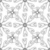 Zwart-wit bloemenpatroon Stock Foto