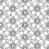 Zwart-wit bloemenpatroon Stock Afbeelding