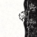 Zwart-wit bloemenuitnodiging of groetkaart Royalty-vrije Stock Afbeeldingen