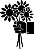 Zwart-wit boeket van madeliefjebloemen in een hand vector illustratie