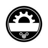 Zwart-wit cirkelkader met halve pignon en toestellenwielen vector illustratie