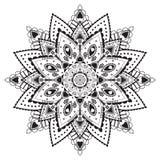 Zwart-wit cirkelpatroon met harten Royalty-vrije Stock Afbeeldingen
