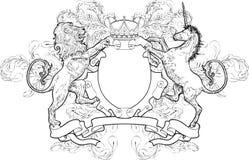 Zwart-wit Co van de Leeuw en van de Eenhoorn Royalty-vrije Stock Foto